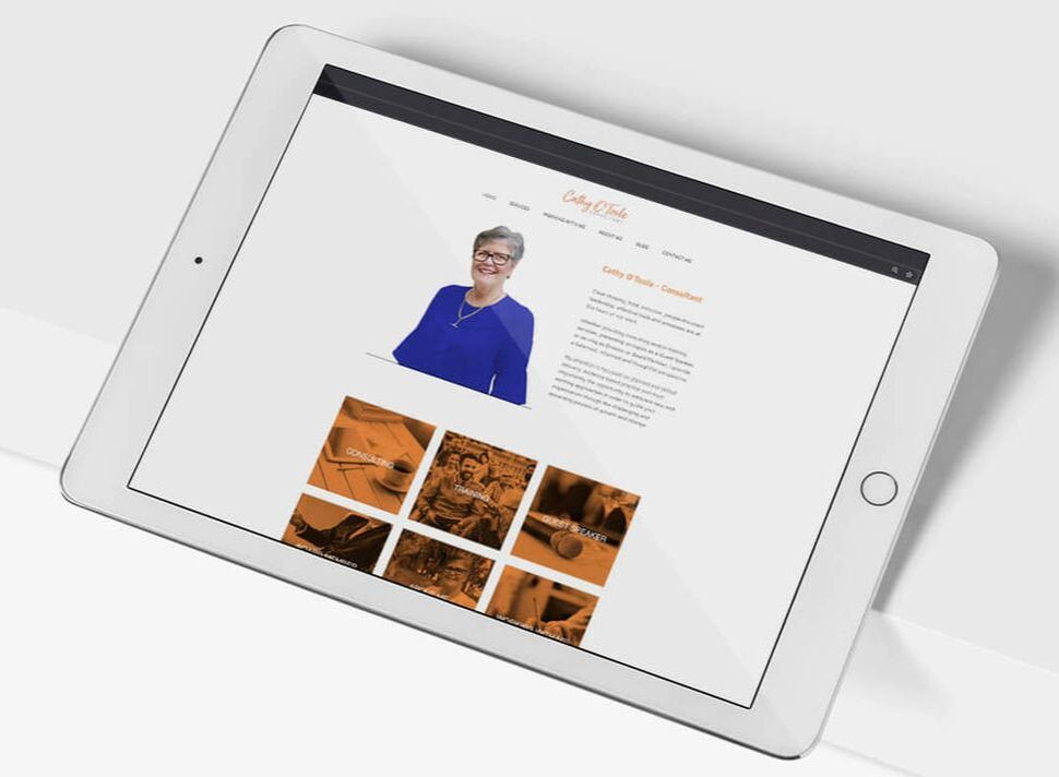 Grey and Grey Marketing Case Study Cathy OToole Responsive Web Design on Tablet