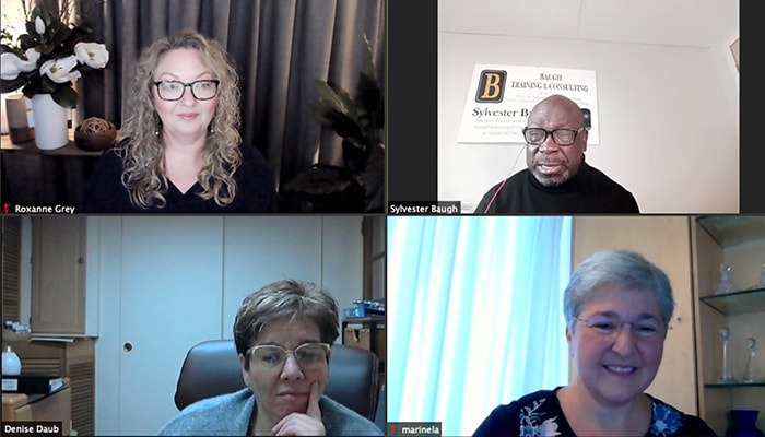 International Symposium Marketing Best Practice Round Table Zoom screen with Roxanne Grey